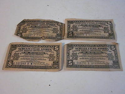4 Antique Schulte Cigar Stores 2-1/2 Coupons Tickets