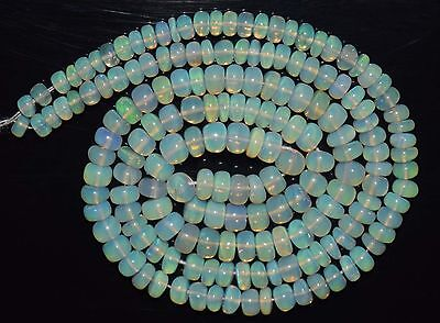 """16.5"""" Stunning Natural Ethiopian Welo Fire Opal Smooth Rondelle Beads EB1723"""