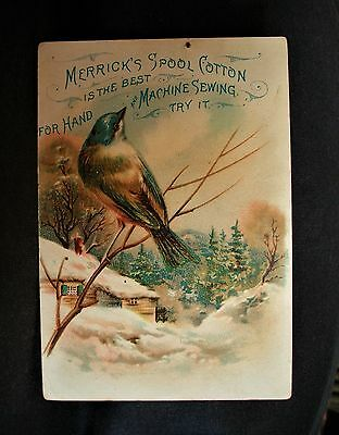 Vintage MERRICK THREAD advertisment card BLUEBIRD VICTORIAN