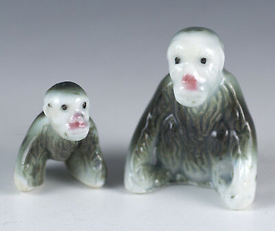 Vintage Miniature Pair Bone China Mama and Baby Baboon Figurines Glossy Finish