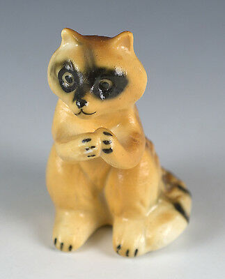 Vintage Miniature Bone China Raccoon Figurine Standing Matte Finish