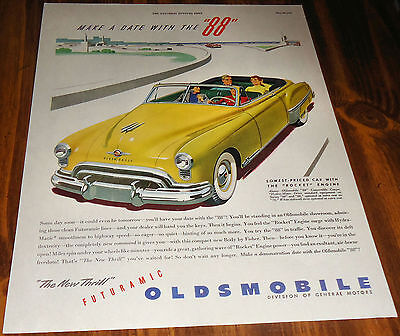 1949 OLDSMBILE 88 Yellow CONVERTIBLE COUPE Antique Car AD