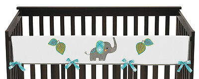 Modern Elephant Jungle Long Front Rail Guard Baby Teething Cover Crib Protector