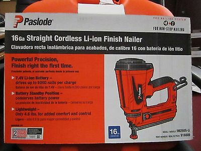 NEW! Paslode IM250S-Li 16ga Straight cordless Li-Ion Finish Nailer