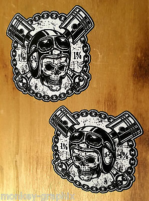 2x Biker Skull 1% No13 V2 Oldschool Bobber Aufkleber Sticker British USA Chopper