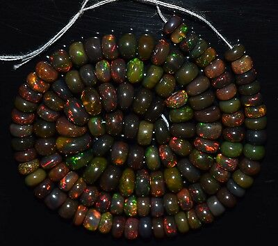 """79.35 Cts 16.5"""" Natural Ethiopian BLACK Fire Opal Treated Rondelle Beads SDO1082"""