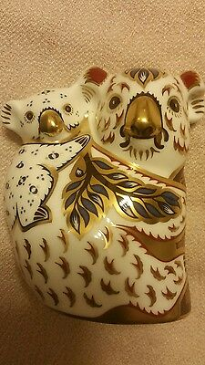 royal crown derby paperweight koala and baby gold signed australian collection