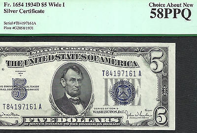 1934D $5 SILVER Certificate! PCGS CHOICE ABOUT NEW 58PPQ!