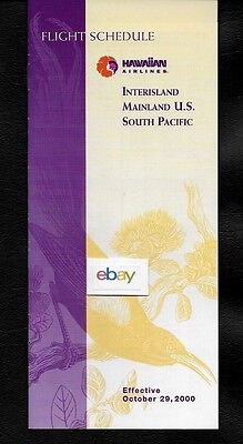 Hawaiian Airlines 10-29-2000 System Timetable Interisland-Mainland-South Pacific