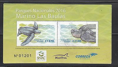 Costa Rica 2016 National Park Turtle  MS of 2    used