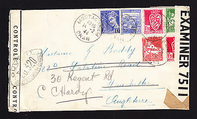 Used Algerian stamps on 1944 censor tape cover Mostaganem Algeria to England