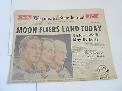 JULY 20 1969 WISCONSIN STATE JOURNAL newspaper section MOON FLIERS LAND TODAY