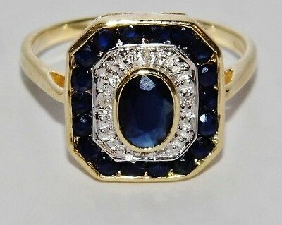 ART DECO 9 CT YELLOW GOLD BLUE SAPPHIRE & DIAMOND LADIES CLUSTER RING - size L