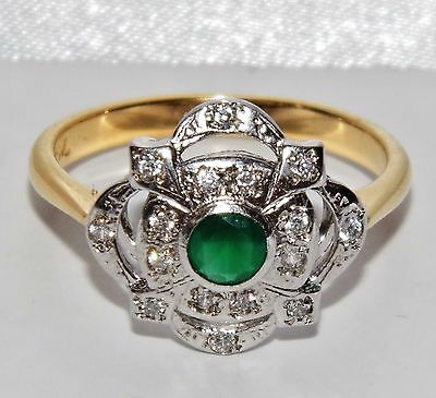 ART DECO 9 CT YELLOW GOLD ON SILVER EMERALD CLUSTER RING - size O