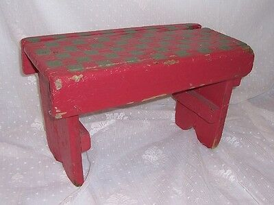 Antique Primitive Wood Milking Stool Red Green