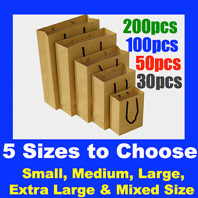 Bulk 30 To 200 Brown Craft Paper Gift Carry Bags Small Medium Large With Handles