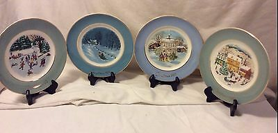 4 Enoch Wedgwood AVON Christmas Plates 1975,1976, 1977,1980 in Boxes