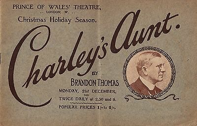 "Brandon Thomas ""CHARLEY'S AUNT"" Artist David Wilson 1914 London Souvenir Program"