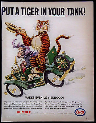 Vintage 1965 Humble Enco Extra Gasoline Magazine Ad Put A Tiger In Your Tank