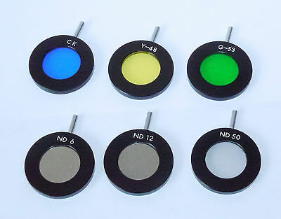 """6 Olympus """"Lollipop"""" Microscope Filters ~33mm diam by ~3mm thick for PME etc."""