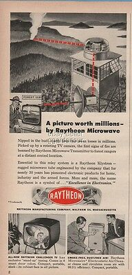 1954 Raytheon Microwave Transmitter Fire Tower Challenger TV Set Waltham MA Ad