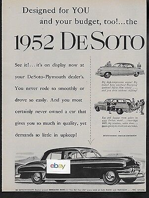 Desoto For 1952 Station Wagon-Custom Sedan Designed For You And Your Budget Ad