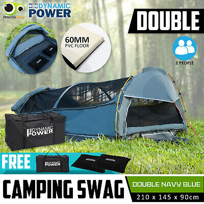 DOUBLE Outdoor Camping Canvas Swag  Aluminium Poles Tent NAVY