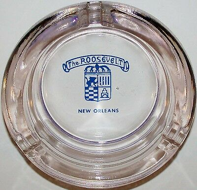 Vintage glass ashtray THE ROOSEVELT hotel New Orleans Louisiana excellent cond