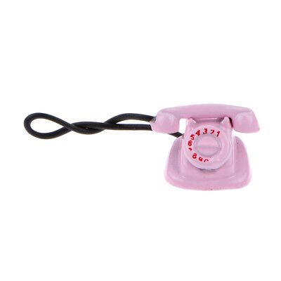 Doll House Miniature Pink Desk Phone w/ Rotary Dial Old Fashioned Telephone