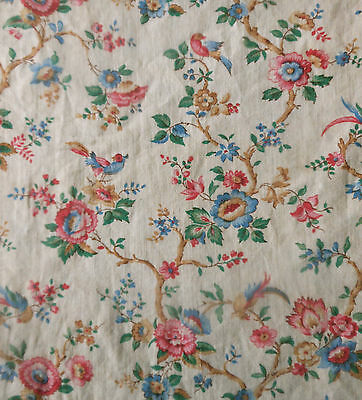 Antique French Tree of Life Petite Floral Bird Cotton Fabric ~Chintz pattern