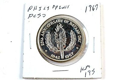1967 PHILIPPINES 25th Anniversary of Bataan Day vs Japan Peso Silver Coin KM195