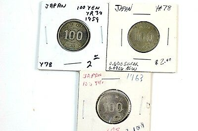 Group of 3 Japan 100 Yen Silver Coins 1959 1963 No Reserve
