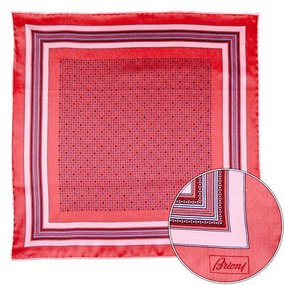 Men's BRIONI Red Shapes Geometric Silk Hand Rolled Pocket Square Handkerchief