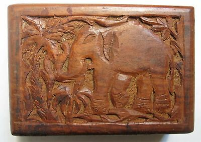carved elephant birds VINTAGE OLD WOOD WOODEN Jewelry BOX India?