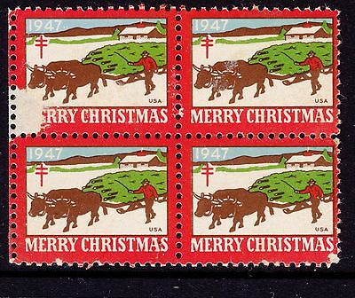 UNITED STATES  1947  Christmas Seals In Block of 4 MUH slight faults