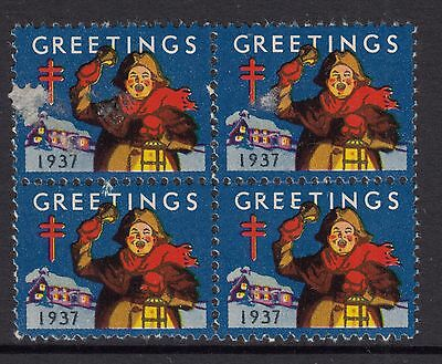 UNITED STATES  1937  Christmas Seals In Block of 4 MUH slight faults