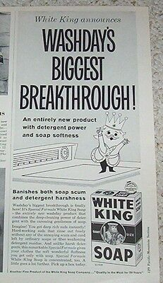 1959 advertising - WHITE KING Laundry detergent CUTE washday OLD Soap PRINT AD
