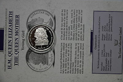 Gibraltar 1 Crown 1999 Silver Proof Queen Mother With Coa Cxqueen20 A60