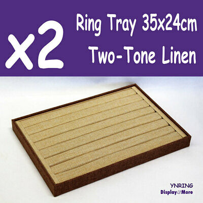 PREMIUM 2X Jewellery Ring Tray-7 Slots | Two-Tone LINEN | AUSSIE Seller