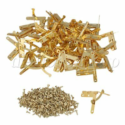 100x Mini Small Metal Spring Hinges with Screws 33x30mm for Miniature Furniture