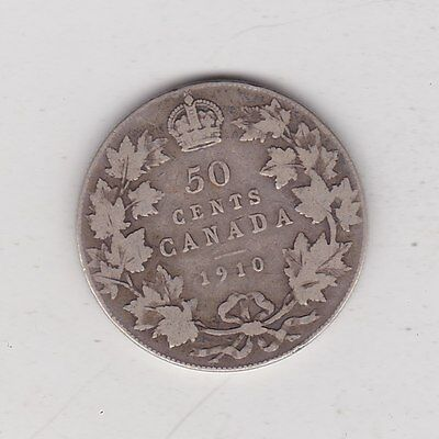 1910 Canada Silver 50 Cents In A Well Used Fair Or Better Condition
