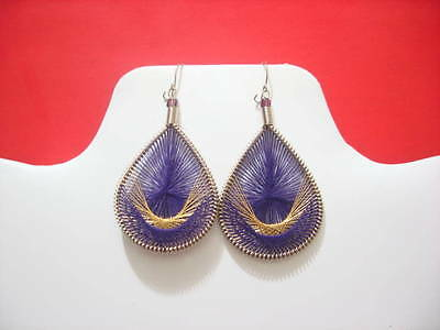 Thread Earrings Peruvian Earrings with Metallic Thread Small Size