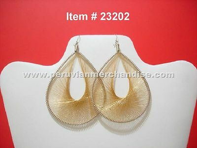 Peruvian Metallic Thread Earrings Large Size Pick your color # 232