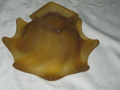 An Art Deco Amber Frosted Pressed Glass Scalloped Edge Posy Vase