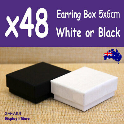 PREMIUM 48X Earring Gift Box-5x6cm | PLAIN White or Black | AUSSIE Seller