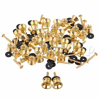100PCS Electric Acoustic Guitar Bass Gold Plated Strap Lock with Screws