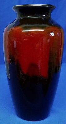 POOLE POTTERY ABSTRACT DESIGN BLACK & RED 21cm ATHENS VASE - LORNA WHITMARSH