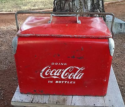 Vintage 1950's Red Metal Embossed Coca-Cola Cooler Very Good Condition