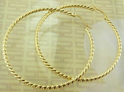 18ct 18k Yellow Gold Plated Large Twist Hoop Earrings - 55mm - New - UK - s19