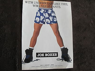 Joe Boxer Men Underwear Print Ad ,clipping 1993